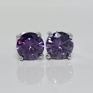 18k Gold Dipped Purple TiffanyStyle 4 Prongs Studs